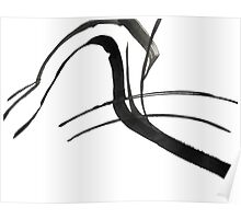 Black & White Calligraphy Design, Japanese Influenced Abstract Art Poster