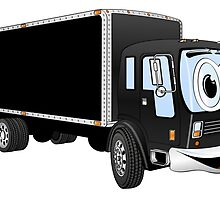 Large Black Delivery Truck Cartoon by Graphxpro