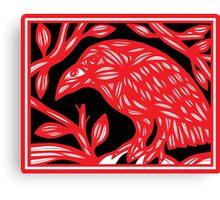 Tollefson Magpie Red White Black Canvas Print
