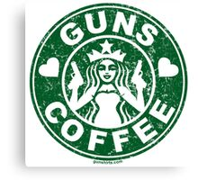I Love Guns and Coffee! Not the Starbucks logo, but close. Canvas Print