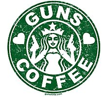 I Love Guns and Coffee! Not the Starbucks logo, but close. Photographic Print