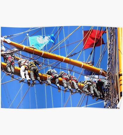 Tall ships 8 men on sails Poster