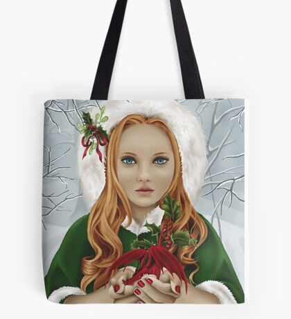 Christmas Yule Winter Holiday Girl with Dragon & Holly Tote Bag