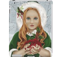 Christmas Yule Winter Holiday Girl with Dragon & Holly iPad Case/Skin