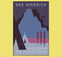 Travel Poster: Montana Night Kids Tee