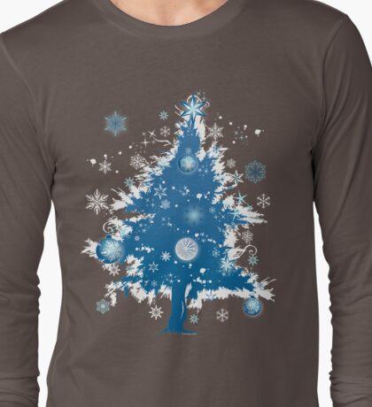 """Silent Night"" Christmas T-shirt - Blue Decorative Christmas Tree Long Sleeve T-Shirt"