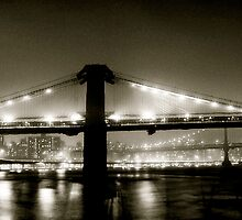 Brooklyn Bridge at night. 1985 by Daniel Sorine