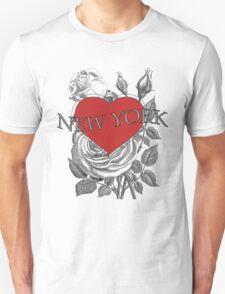 New York Tattoo Style Heart & Rose T-Shirt