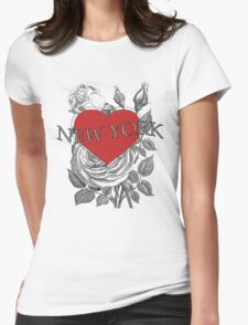 New York Tattoo Style Heart & Rose Womens Fitted T-Shirt