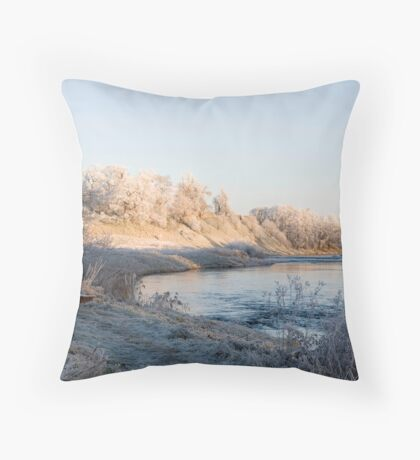 Teviot and Roxburgh Castle in frost Throw Pillow