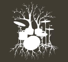 """Live the Beat to the Tempo of Creation"" ~ drum tree art , version1 by Leah McNeir"