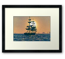 Impasto stylized photo of the Tall Ship Pilgrim sailing  off Dana Point, CA US. Framed Print