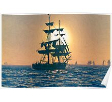 Impasto stylized photo of the Tall Ship Pilgrim sailing  off Dana Point, CA US. Poster