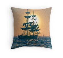 Impasto stylized photo of the Tall Ship Pilgrim sailing  off Dana Point, CA US. Throw Pillow