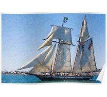 Impasto stylized photo of the Tall Ship Lynx at the Festival of Sail in San Diego, CA US.  Poster