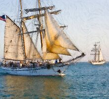 Impasto stylized photo of the Tall Ships Irving Johnson and Exy Johnson furling sails on the way in to Dana Point Harbor, CA US. by NaturaLight