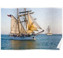 Impasto stylized photo of the Tall Ships Irving Johnson and Exy Johnson furling sails on the way in to Dana Point Harbor, CA US. Poster