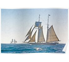 Impasto stylized photo of the Tall Ship Californian at Dana Point Harbor, CA US, with Tall Ship Bounty in background. Poster