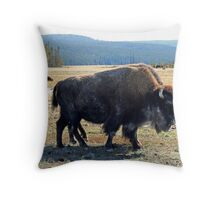 """Yellowstone Buffalo"" Throw Pillow"