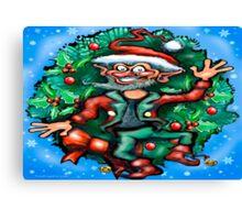 Christmas Elf w Wreath Canvas Print