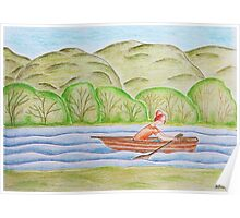 Young girl in the boat Poster
