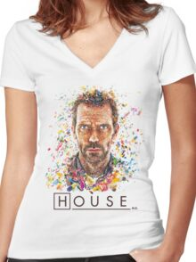 House MD - Pills  Women's Fitted V-Neck T-Shirt