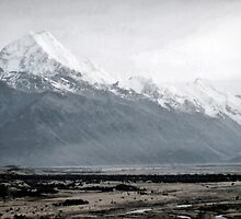 Mount Cook in mist - New Zealand  by Norman Repacholi