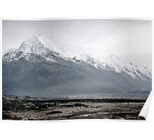 Mount Cook in mist - New Zealand  Poster