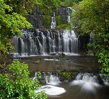 Purakaunui water falls, New Zealand by Norman Repacholi
