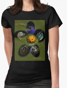 Oneness with Ladybugs Picture in the Centre Womens Fitted T-Shirt