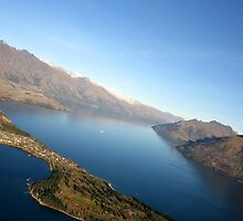 Queenstown from the air - New Zealand by Nicola Barnard