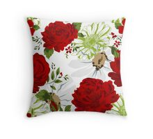 Beautiful red roses pattern on a white background. Throw Pillow