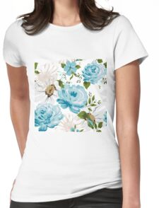 Beautiful blue roses pattern on a white background.  Womens Fitted T-Shirt