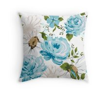 Beautiful blue roses pattern on a white background.  Throw Pillow