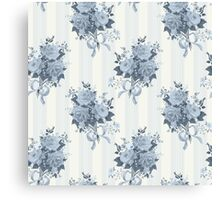 Vintage rose blue pattern Canvas Print