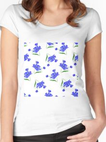 Cornflowers drawn on a white background. Women's Fitted Scoop T-Shirt