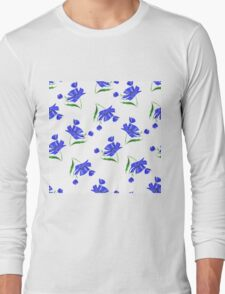 Cornflowers drawn on a white background. Long Sleeve T-Shirt