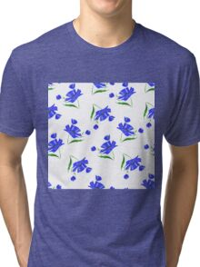 Cornflowers drawn on a white background. Tri-blend T-Shirt