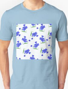 Cornflowers drawn on a white background. Unisex T-Shirt
