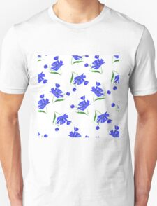 Cornflowers drawn on a white background. Unisex T-Shirt