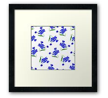Cornflowers drawn on a white background. Framed Print