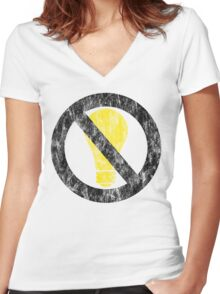 no incandescent bulbs Women's Fitted V-Neck T-Shirt