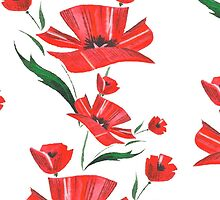 Stylized Poppy flowers illustration by LourdelKaLou