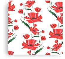 Stylized Poppy flowers illustration Canvas Print