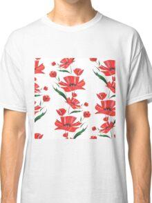 Stylized Poppy flowers illustration Classic T-Shirt
