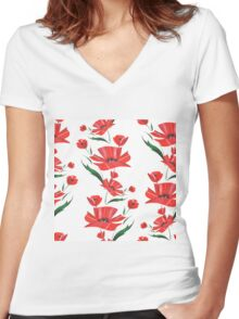 Stylized Poppy flowers illustration Women's Fitted V-Neck T-Shirt