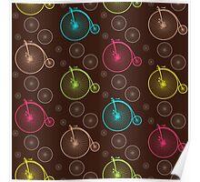 Vintage bicycle seamless pattern Poster