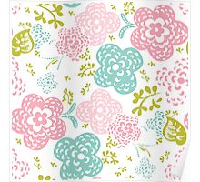 Floral seamless pattern on white background, sweet style Poster