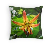 Turks cap lily....with spider Throw Pillow