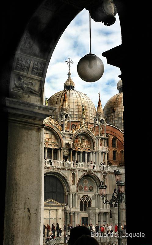 ST. MARKS BASILICA THROUGH COLONNADE by Edward J. Laquale
